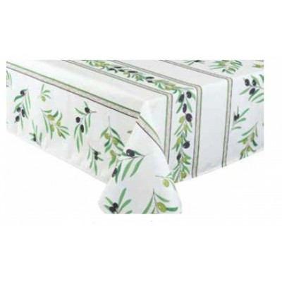 Nappe rectangulaire  polyester olives rayé verte-grise