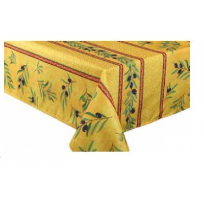 Nappe rectangulaire  polyester olives rayé jaune-rouge